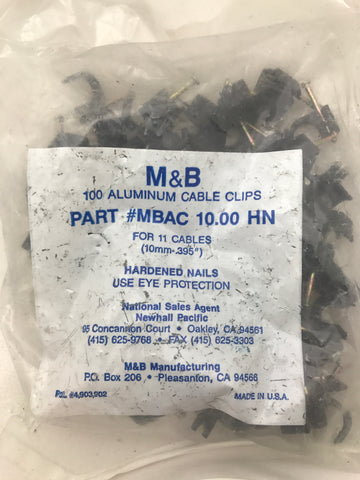 M&B 100 aluminum cable clips #MBAC 10.00 HN