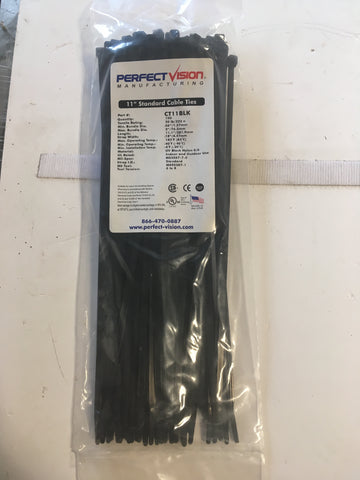 "Perfect Vision CT11BLK 11"" Standard Cable Ties (100 Count Black)"