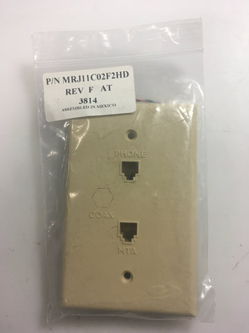 Channell Commercial Corp. MRJ11C02F2HD Rev F AT3814 Wall Plate - Confluent Technology Group