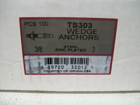 Metallics Inc. TS303 Wedge Anchor Wedge Anchor 3/8 in x 3 in (Box of 100)