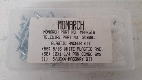 "Monarch 50 piece 5/16"" plastic anchor kit with bit Model MPAK516 - Confluent Technology Group"