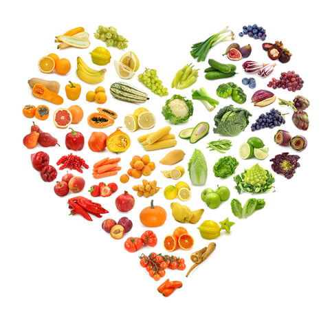 Colourful food heart - skinny boo eating plan