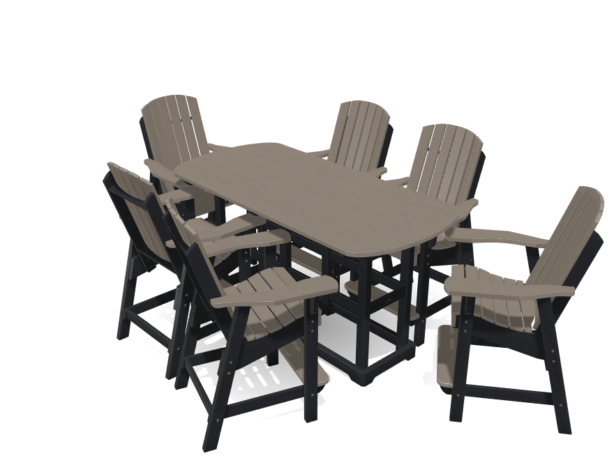6' Bistro Table Set with 6 Chairs - MY OUTDOOR ROOM