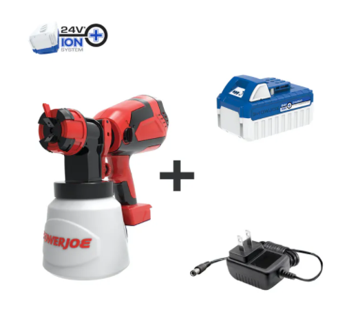 Sun Joe 24V-PS1 24-Volt iON+ Cordless HVLP Handheld Paint Sprayer Kit | W/ 4.0-Ah Battery, Charger, and Accessories