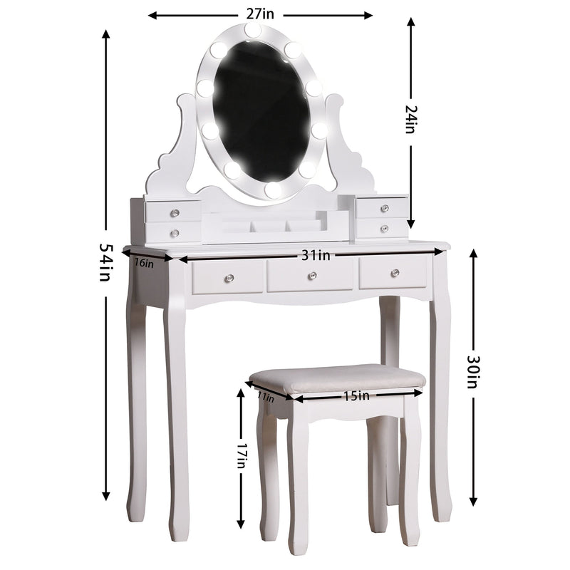 Solid Wood Vanity Set with Stool and Mirror