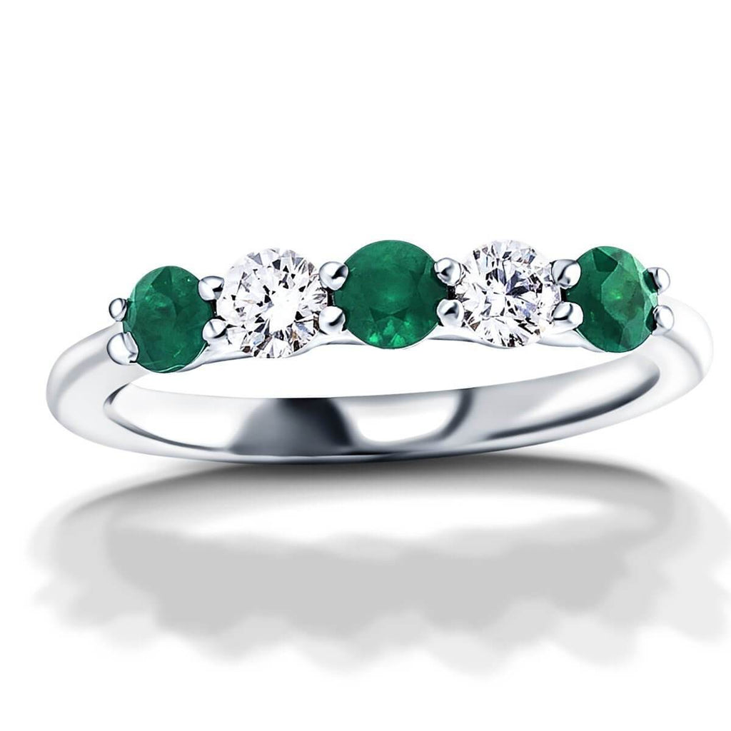0.30ct Emerald 0.20ct Diamond Five Stone Ring 18k White Gold - All Diamond