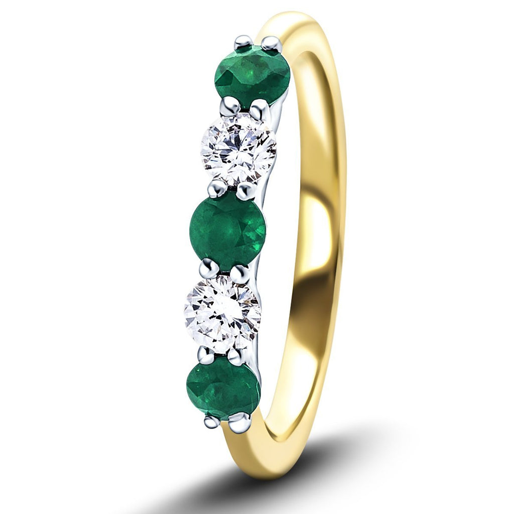 0.45ct Emerald 0.30ct Diamond Five Stone Ring 18k Yellow Gold - All Diamond