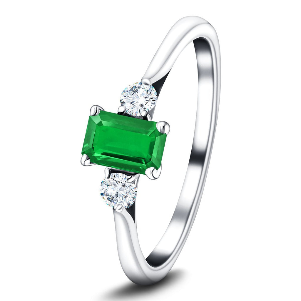 0.50ct Emerald with 0.20ct Diamond Trilogy Ring 18k White Gold - All Diamond