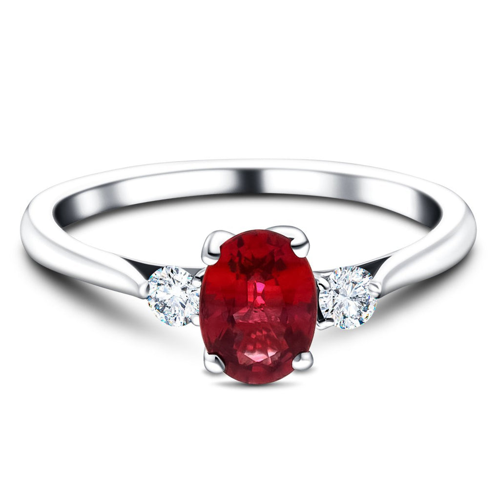 0.54ct Ruby with 0.16ct Diamond Trilogy Ring in 18k White Gold - All Diamond