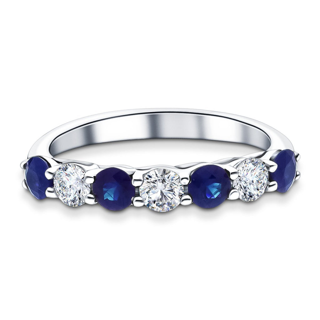 0.70ct Blue Sapphire 0.40ct Diamond Seven Stone Ring 18k White Gold - All Diamond