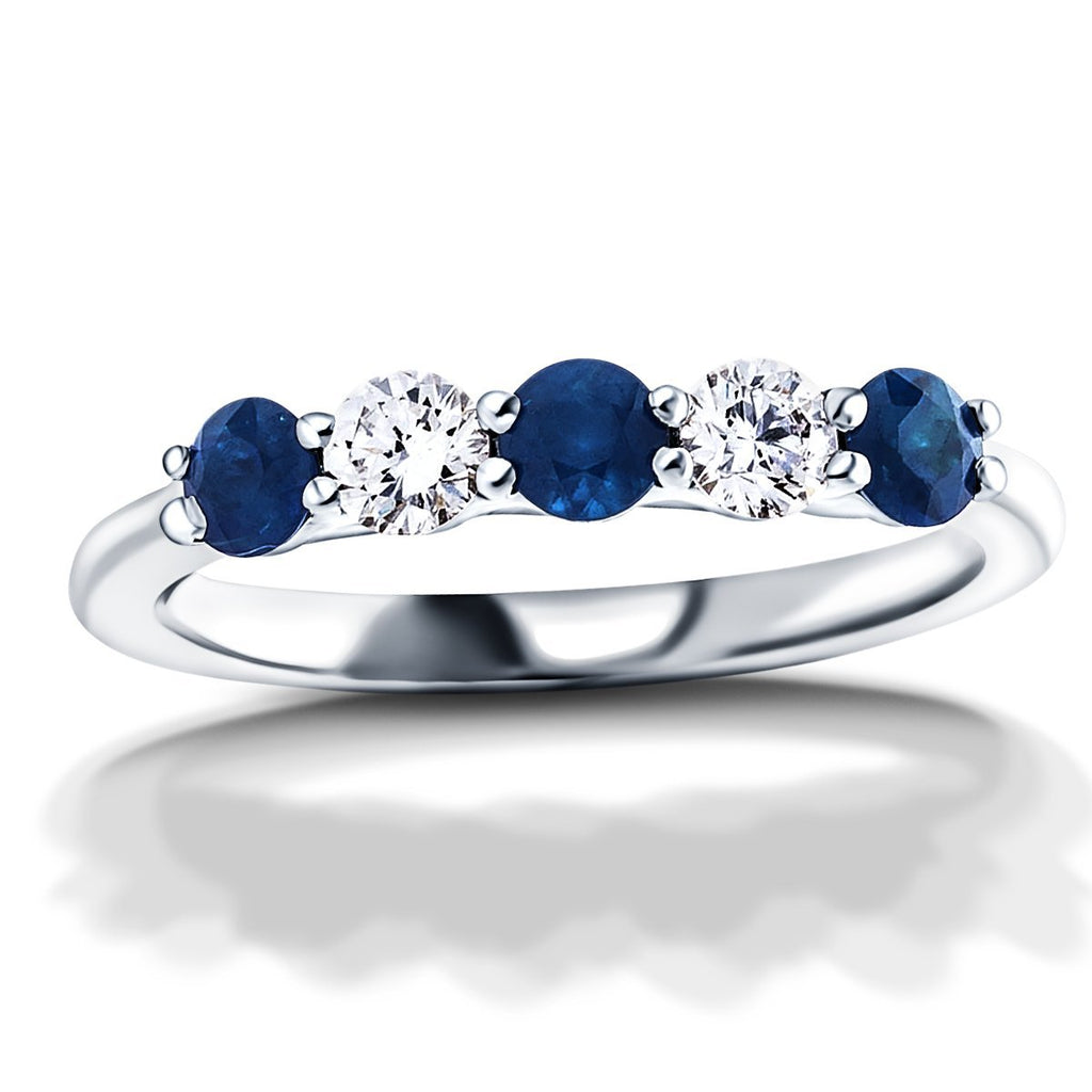 0.75ct Blue Sapphire 0.40ct Diamond Five Stone Ring 18k White Gold - All Diamond
