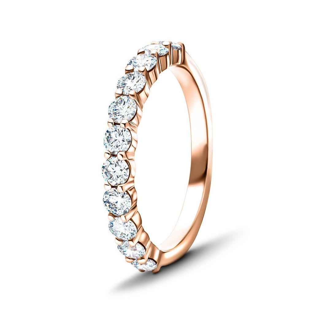 11 Stone Half Eternity Ring 0.75ct G/SI Diamonds in 18k Rose Gold 2.6mm - All Diamond