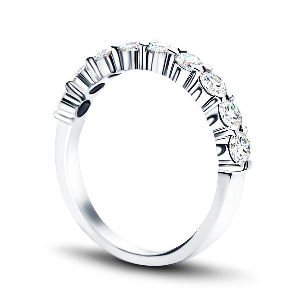 11 Stone Half Eternity Ring 0.75ct G/SI Diamonds in 18k White Gold 2.6mm - All Diamond