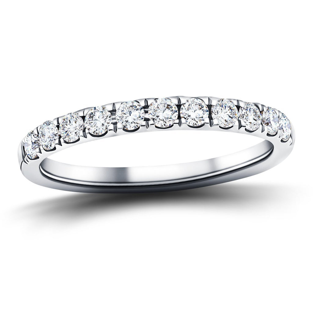 11 Stone Half Eternity Ring 0.75ct G/SI Diamonds in Platinum - All Diamond