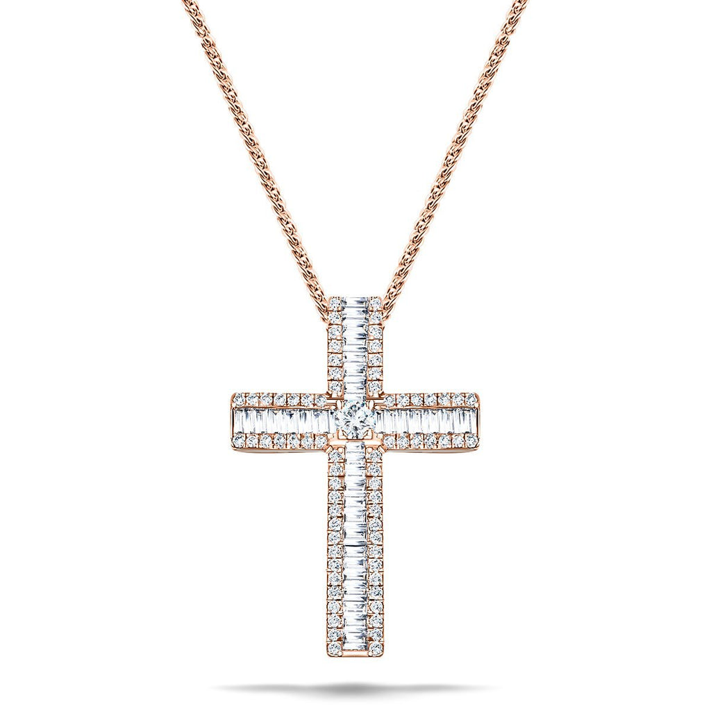 1.10ct Baguette & Round Diamond Cross in 18k Rose Gold - All Diamond