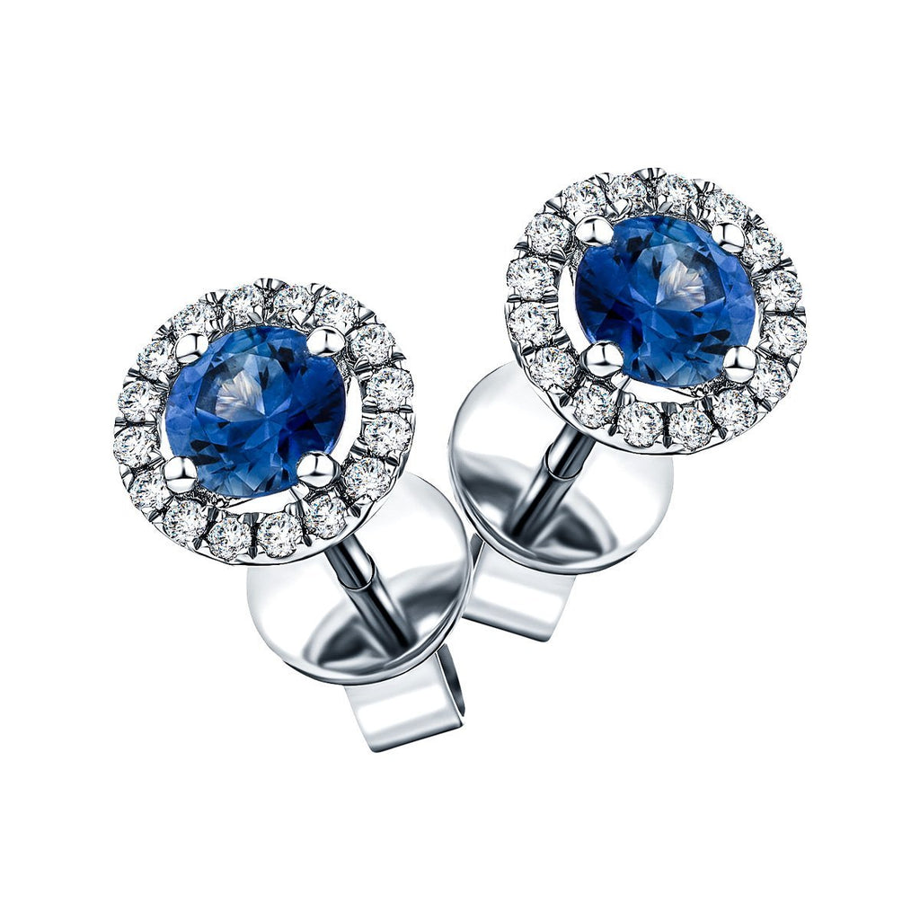 1.20ct Blue Sapphire & Diamond Round Cluster Earrings 18k White Gold - All Diamond