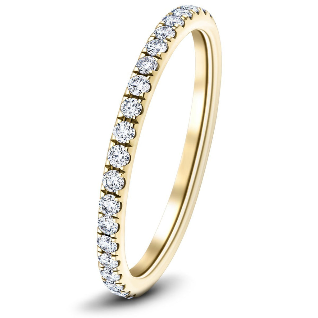 13 Stone Half Eternity Ring 0.60ct G/SI Diamonds in 18k Yellow Gold - All Diamond