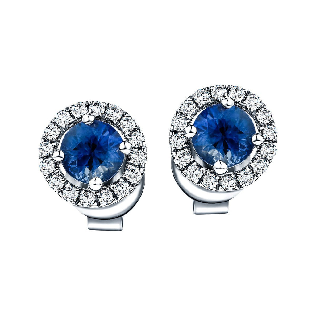 1.30ct Blue Sapphire & Diamond Round Cluster Earrings 18k White Gold - All Diamond