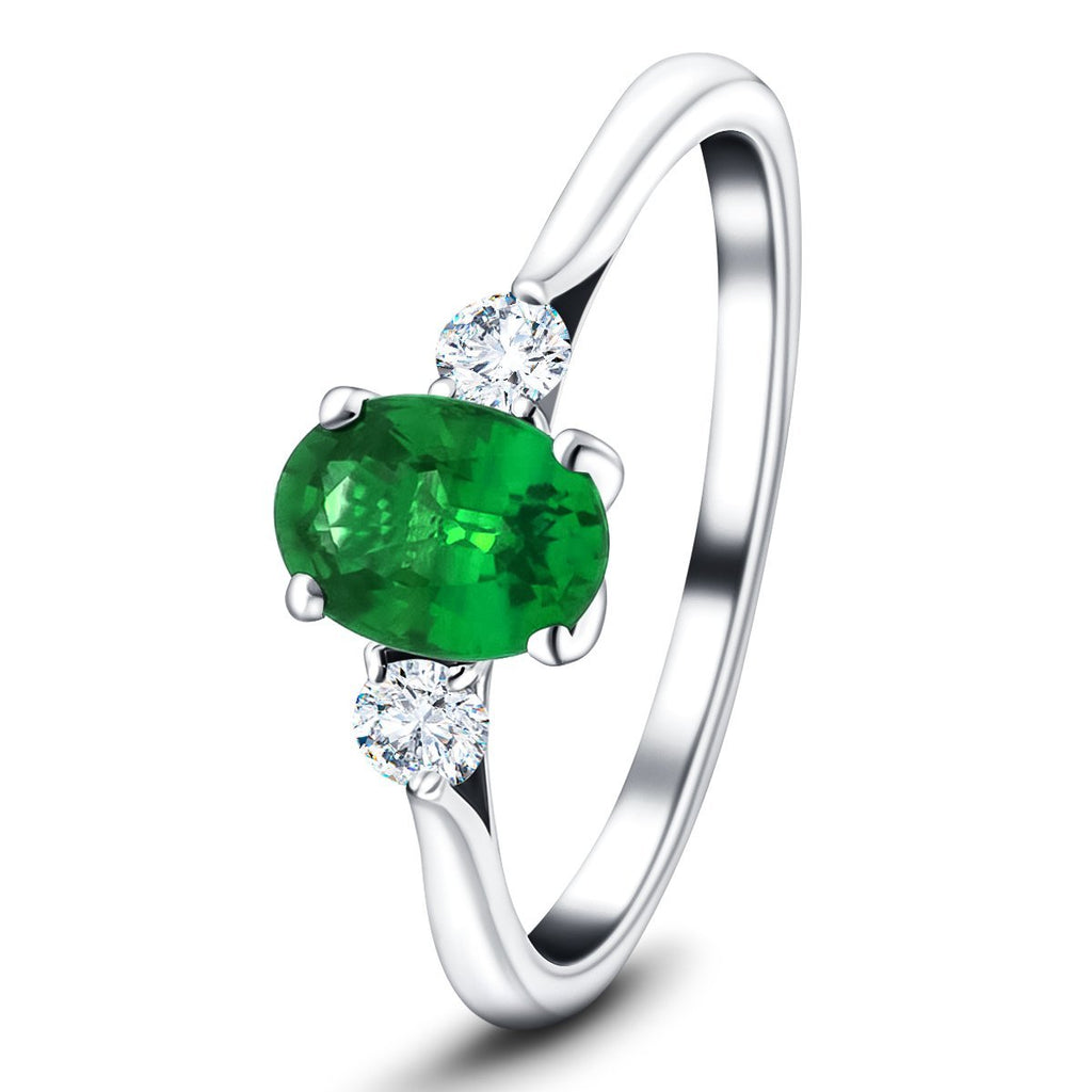 1.40ct Emerald with 0.25ct Diamond Trilogy Ring 18k White Gold - All Diamond