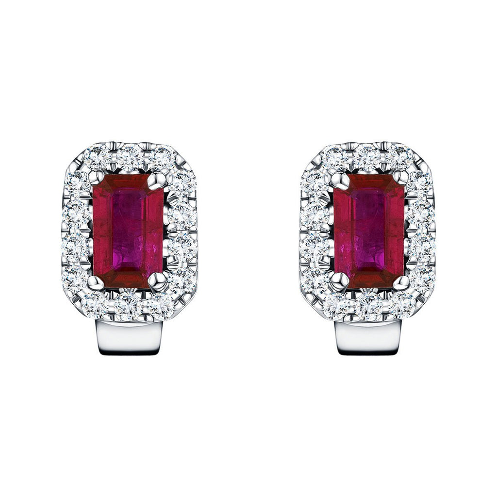 1.45ct Ruby & Diamond Rectangle Cluster Earrings 18k White Gold - All Diamond