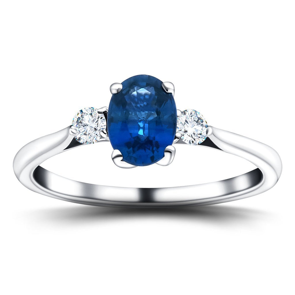 1.60ct Blue Sapphire with 0.25ct Diamond Trilogy Ring 18k White Gold - All Diamond