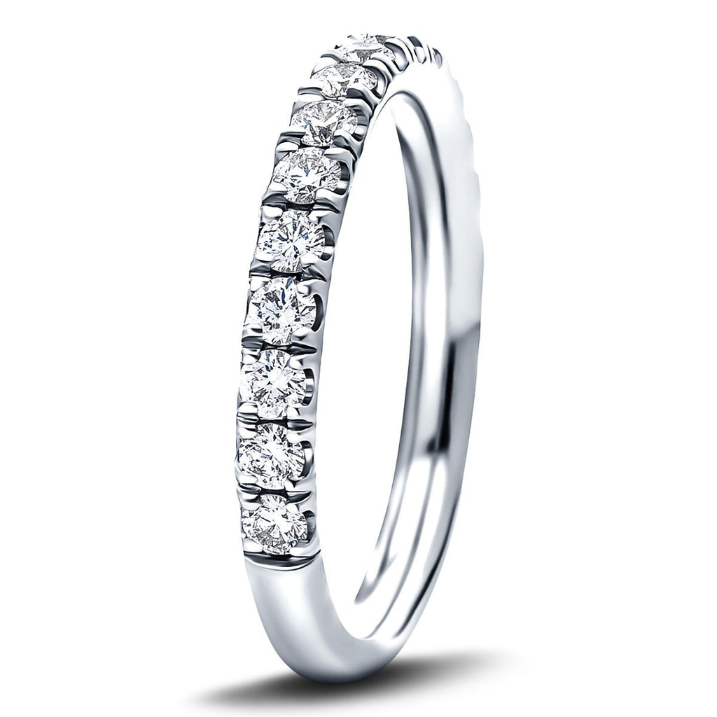 17 Stone Half Eternity Ring 0.65ct G/SI Diamonds in 18k White Gold - All Diamond