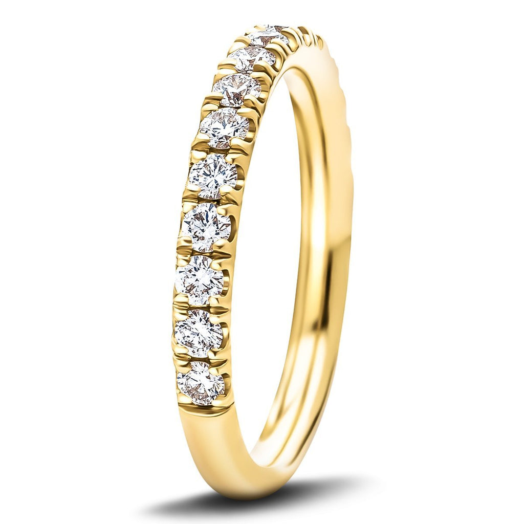 17 Stone Half Eternity Ring 0.65ct G/SI Diamonds in 18k Yellow Gold - All Diamond