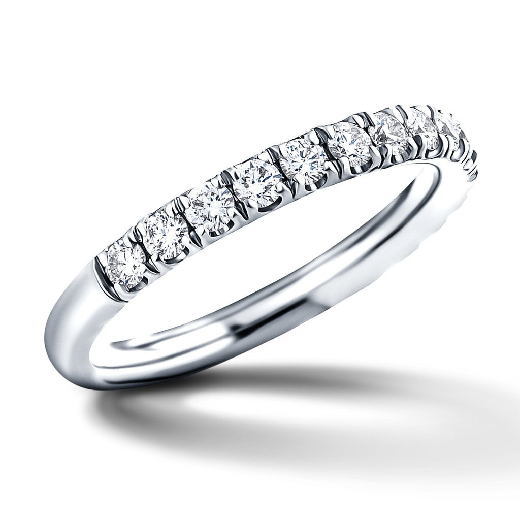 17 Stone Half Eternity Ring 0.65ct G/SI Diamonds in Platinum - All Diamond
