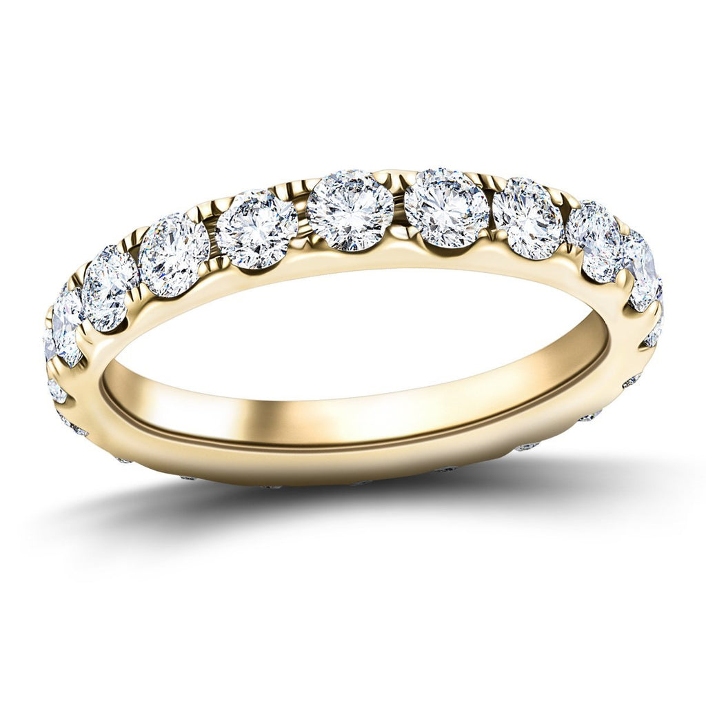 18 Stone Full Eternity Ring 3.20ct G/SI Diamonds in 18k Yellow Gold - All Diamond