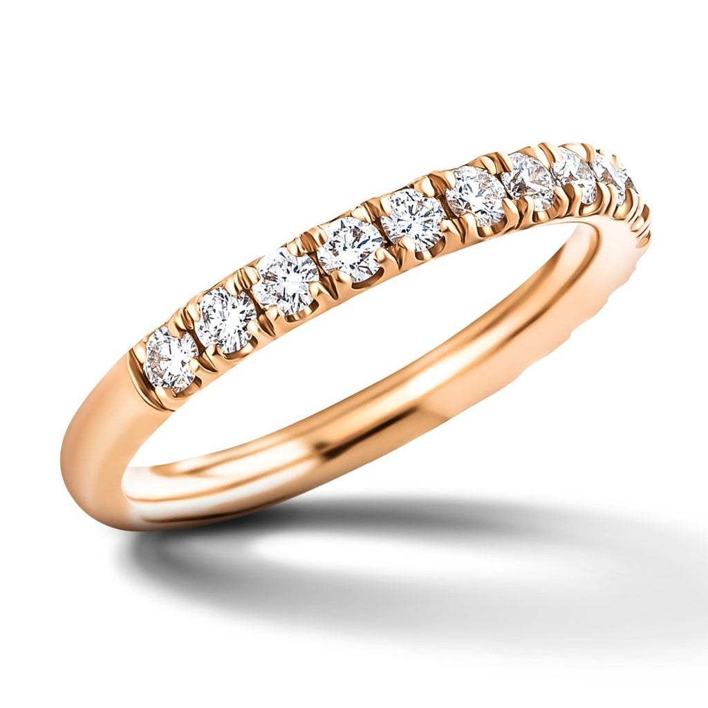 28 Stone Half Eternity Ring 0.20ct G/SI Diamonds in 18k Rose Gold - All Diamond