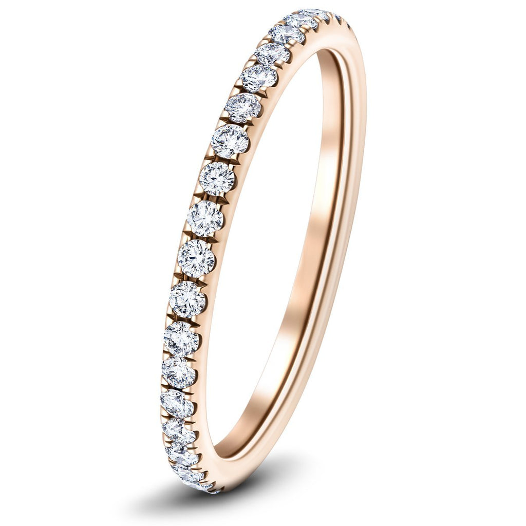 30 Stone Full Eternity Ring 0.75ct G/SI Diamonds In 18k Rose Gold - All Diamond