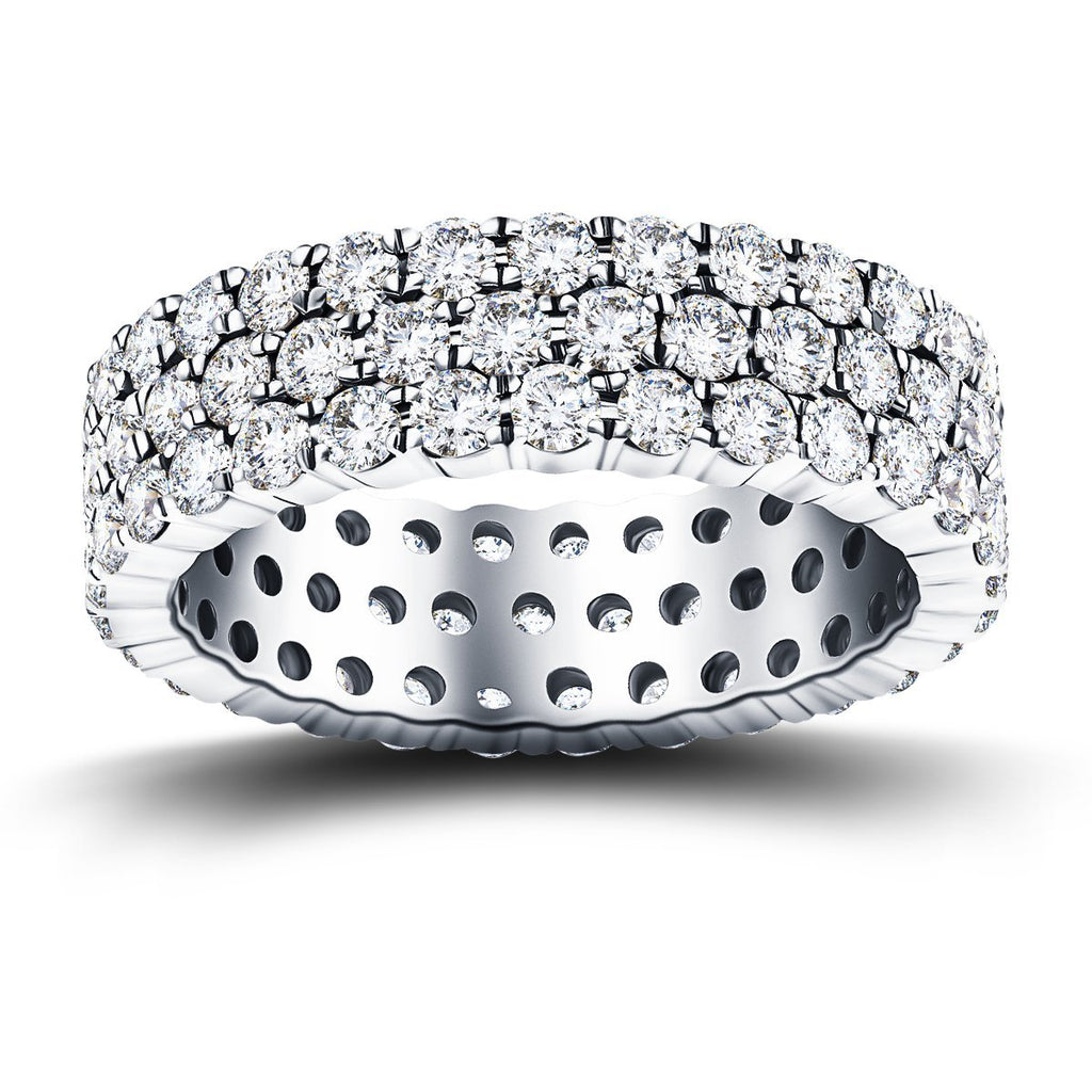 66 Stone Three Row Full Eternity Ring 6.00ct Diamond Platinum - All Diamond