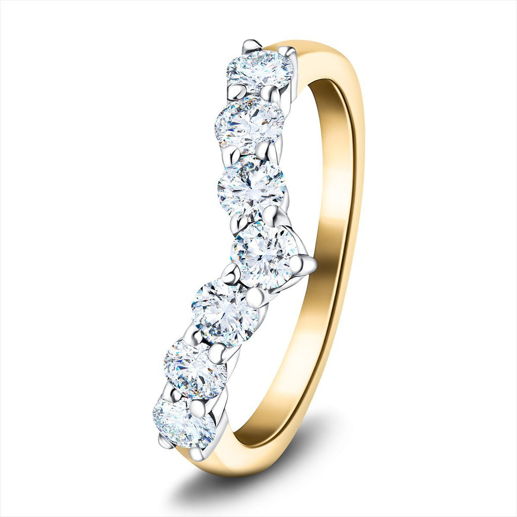 7 Stone Diamond Wishbone Ring 0.80ct G/SI Diamonds in 18k Yellow Gold - All Diamond