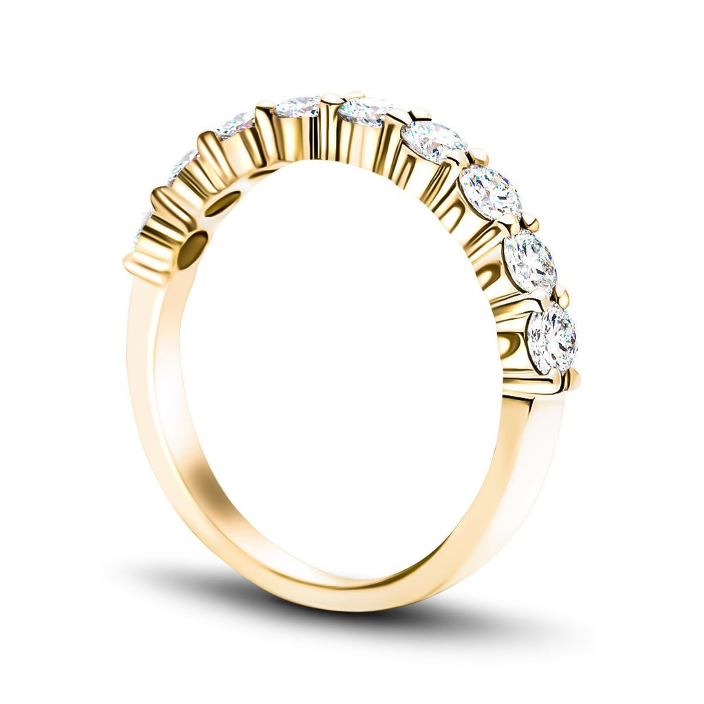 7 Stone Half Eternity Ring 1.55ct G/SI Diamonds in 18k Yellow Gold 3.8mm - All Diamond