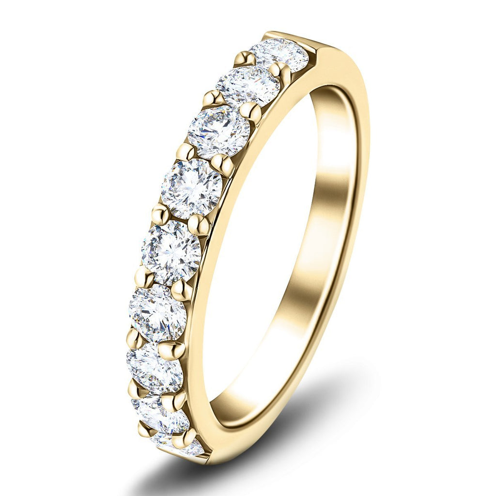 7 Stone Half Eternity Ring 1.60ct G/SI Diamonds in 18k Yellow Gold 4.1mm - All Diamond