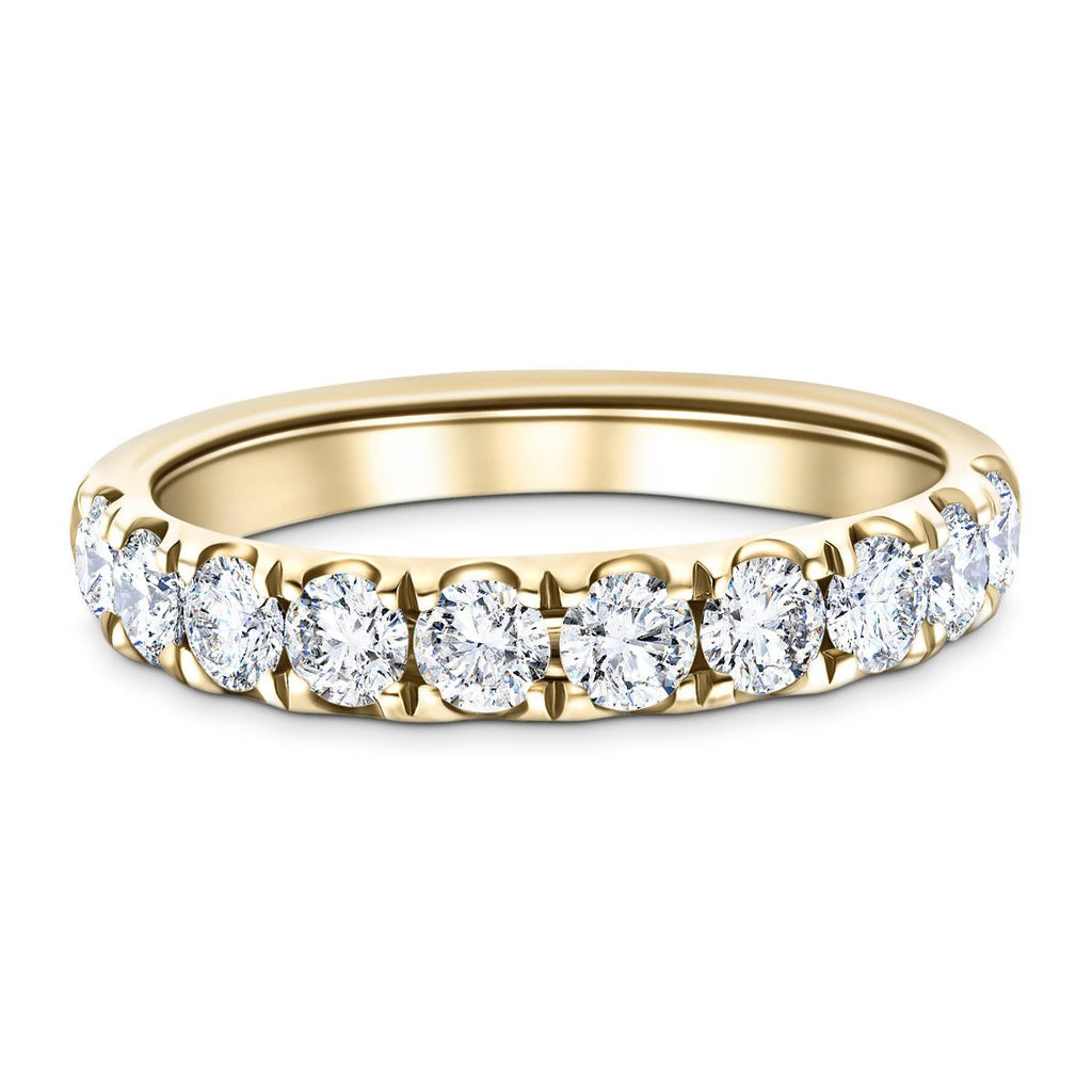 7 Stone Half Eternity Ring 2.20ct G/SI Diamonds in 18k Yellow Gold - All Diamond