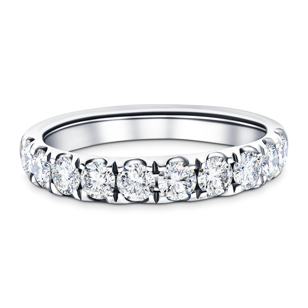 7 Stone Half Eternity Ring 2.20ct G/SI Diamonds in Platinum - All Diamond