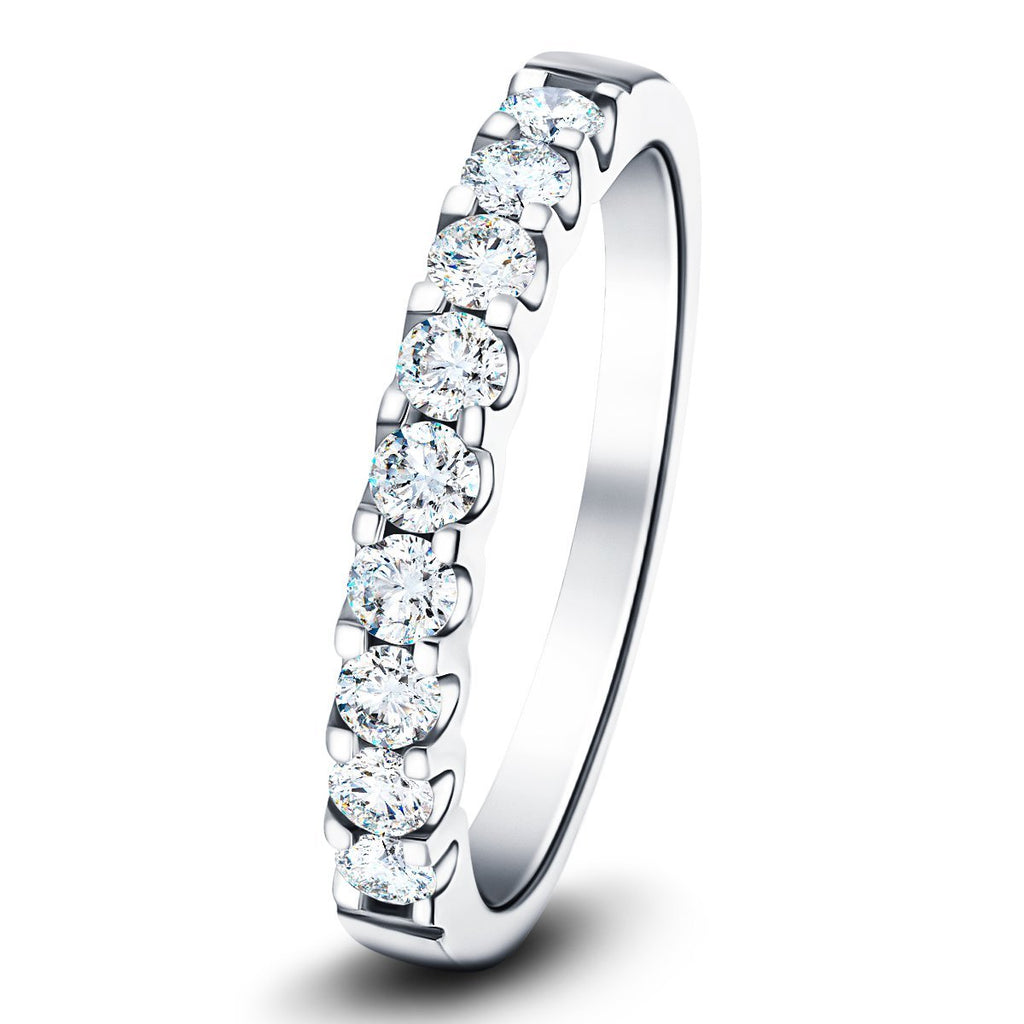 9 Stone Half Eternity Ring 0.80ct G/SI Diamonds in 18k White Gold 3.2mm - All Diamond