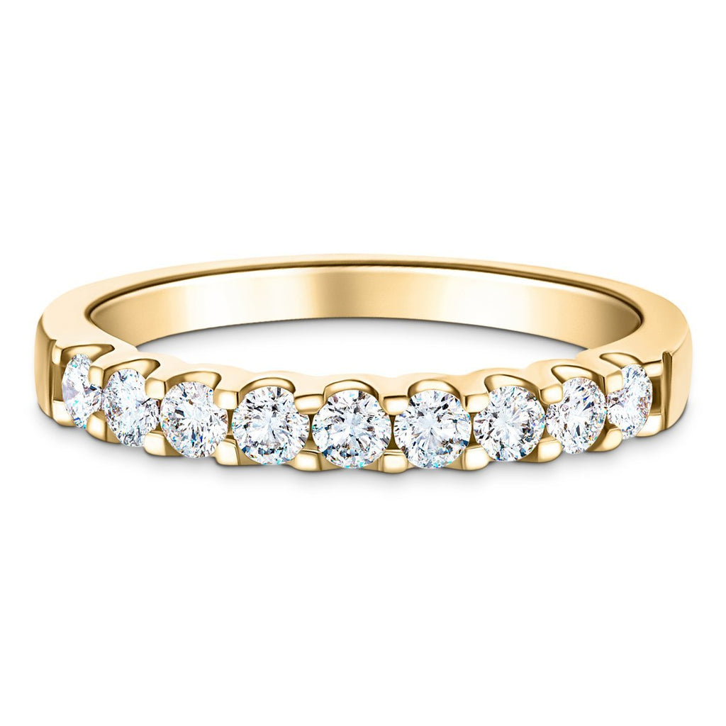 9 Stone Half Eternity Ring 1.00ct G/SI Diamonds in 18k Yellow Gold 3.5mm - All Diamond
