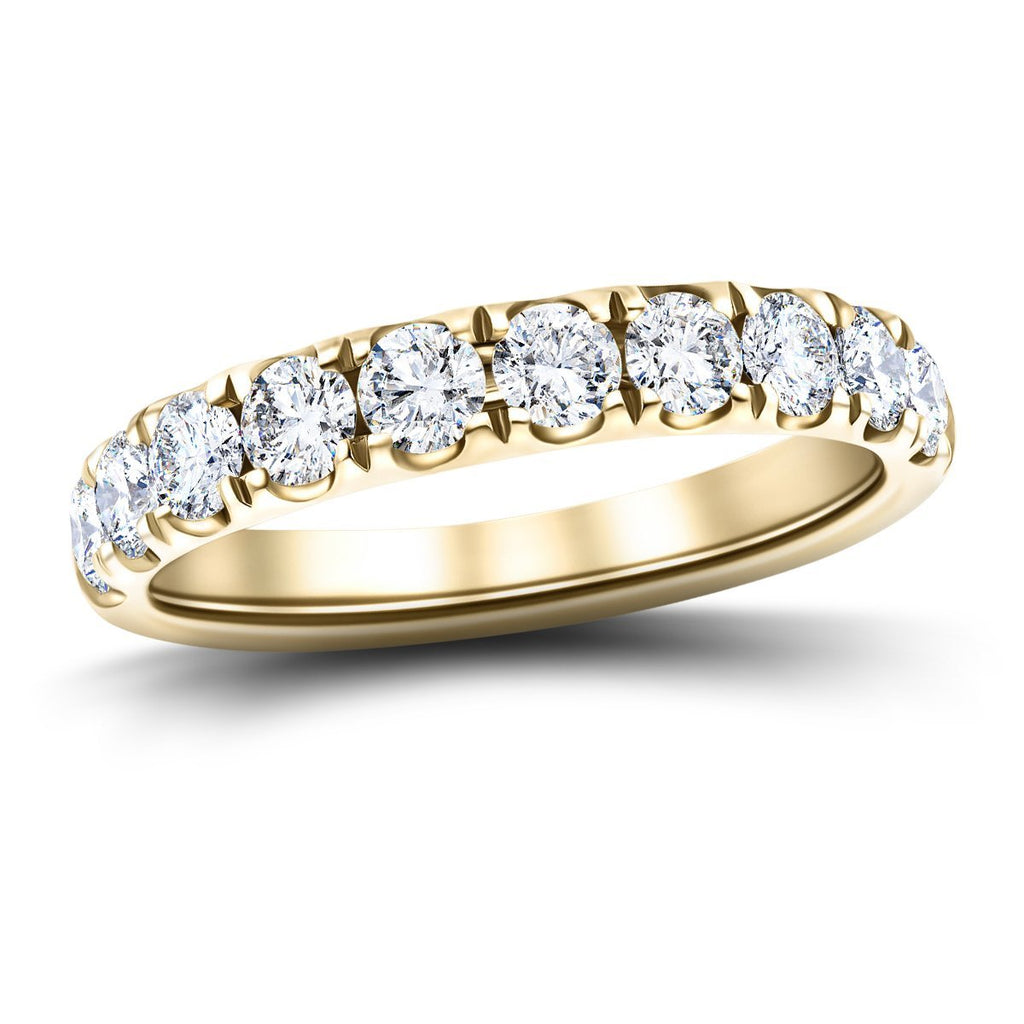 9 Stone Half Eternity Ring 1.35ct G/SI Diamonds in 18k Yellow Gold - All Diamond
