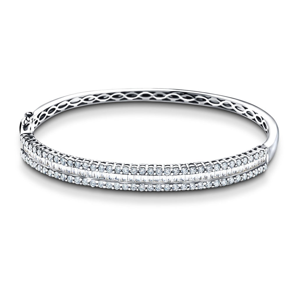 Baguette & Round Diamond Bangle 3.50ct G/SI Diamond in 18k White Gold - All Diamond