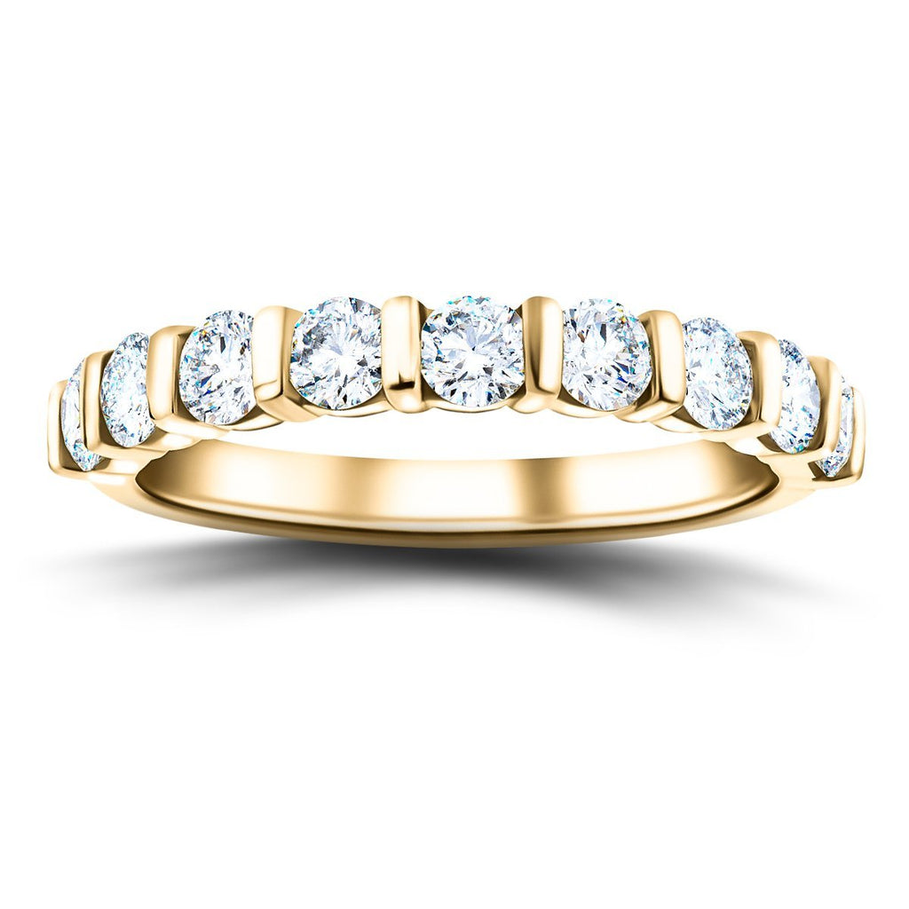 Bar Set Diamond Half Eternity Ring 0.75ct G/SI Diamonds 18k Yellow Gold - All Diamond