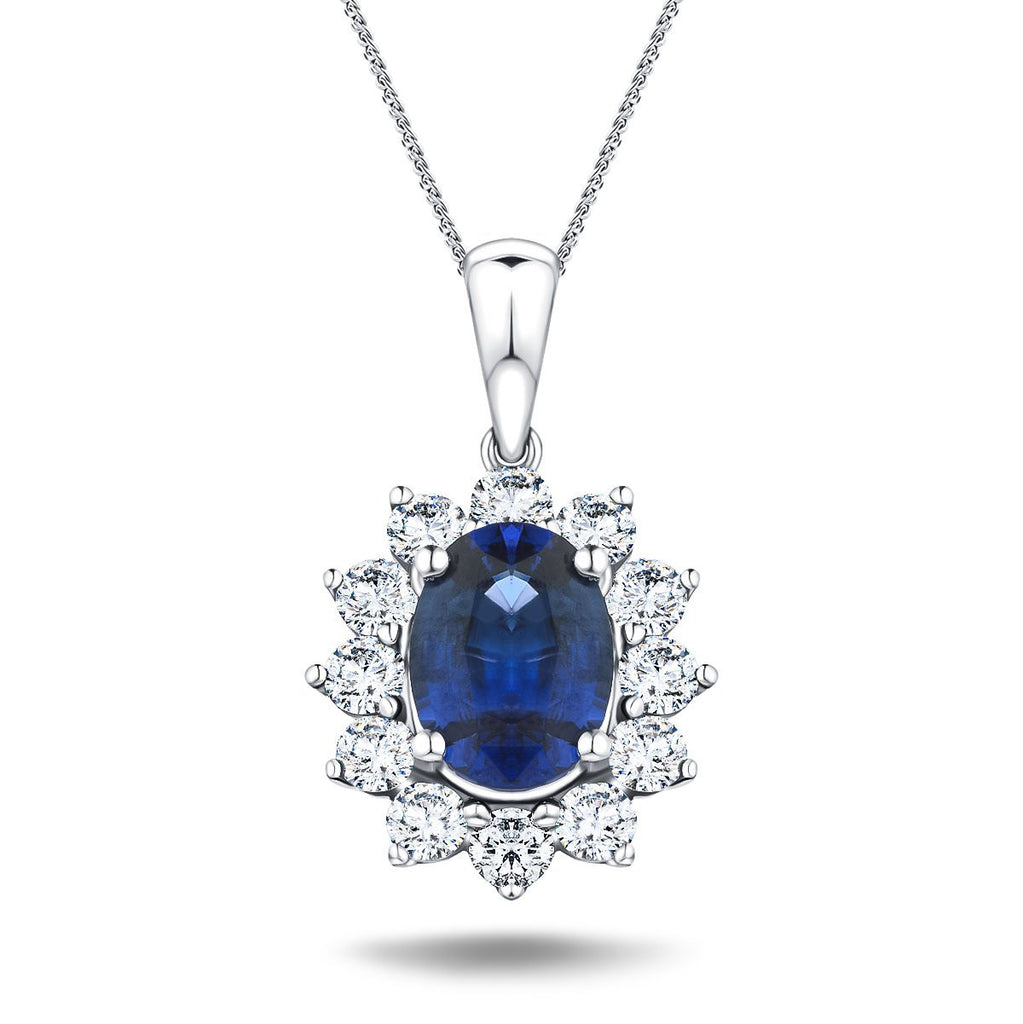 Blue Sapphire 1.80ct & 0.70ct G/SI Diamond Necklace in 18k White Gold - All Diamond