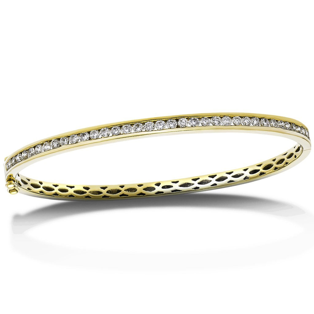 Channel Set Diamond Bangle 1.00ct G/SI Diamond in 9k Yellow Gold - All Diamond