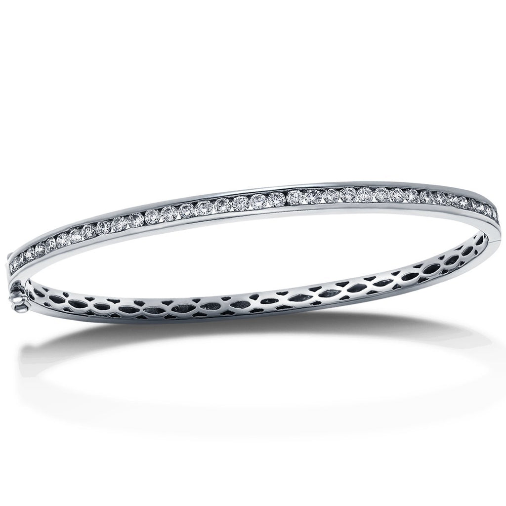 Channel Set Diamond Bangle 2.00ct G/SI Diamond in 18k White Gold - All Diamond