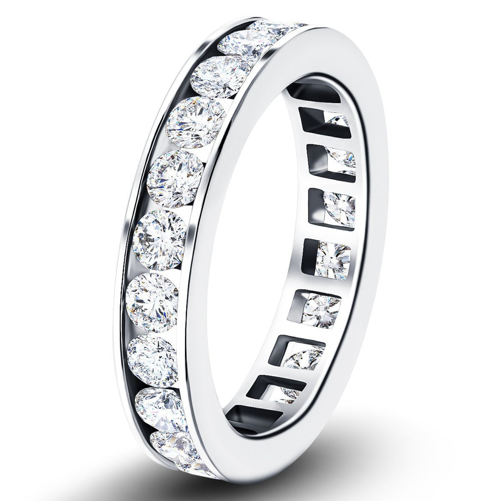 Channel Set Full Eternity Diamond Ring 1.50ct in Platinum 3.5mm - All Diamond