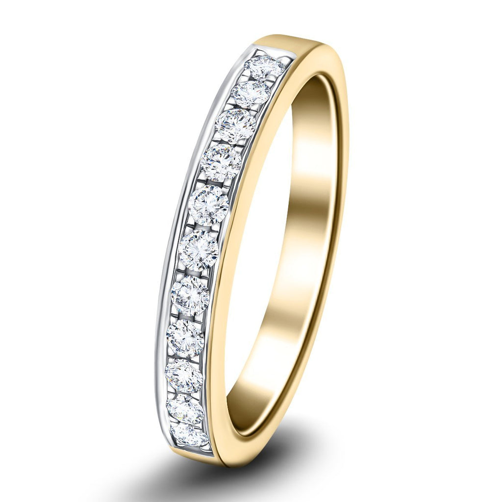 Channel Set Half Eternity Ring 0.25ct G/SI Diamonds in 18k Yellow Gold - All Diamond