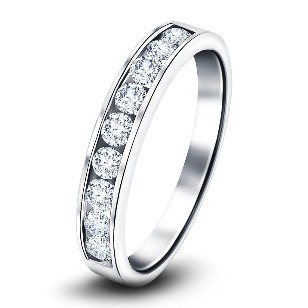 Channel Set Half Eternity Ring 0.25ct G/SI in Platinum 2.7mm - All Diamond