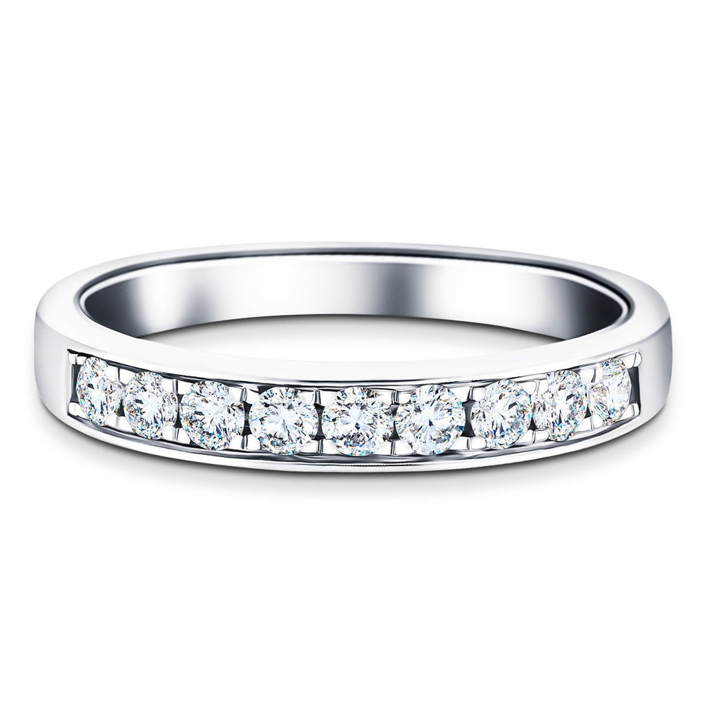 Channel Set Half Eternity Ring 0.35ct G/SI Diamonds in 18k White Gold - All Diamond