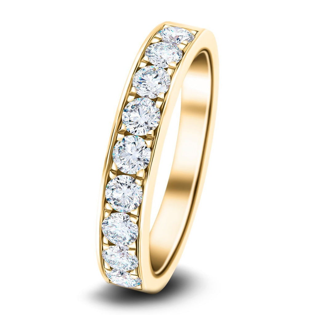 Channel Set Half Eternity Ring 1.00ct G/SI Diamonds in 18k Yellow Gold - All Diamond